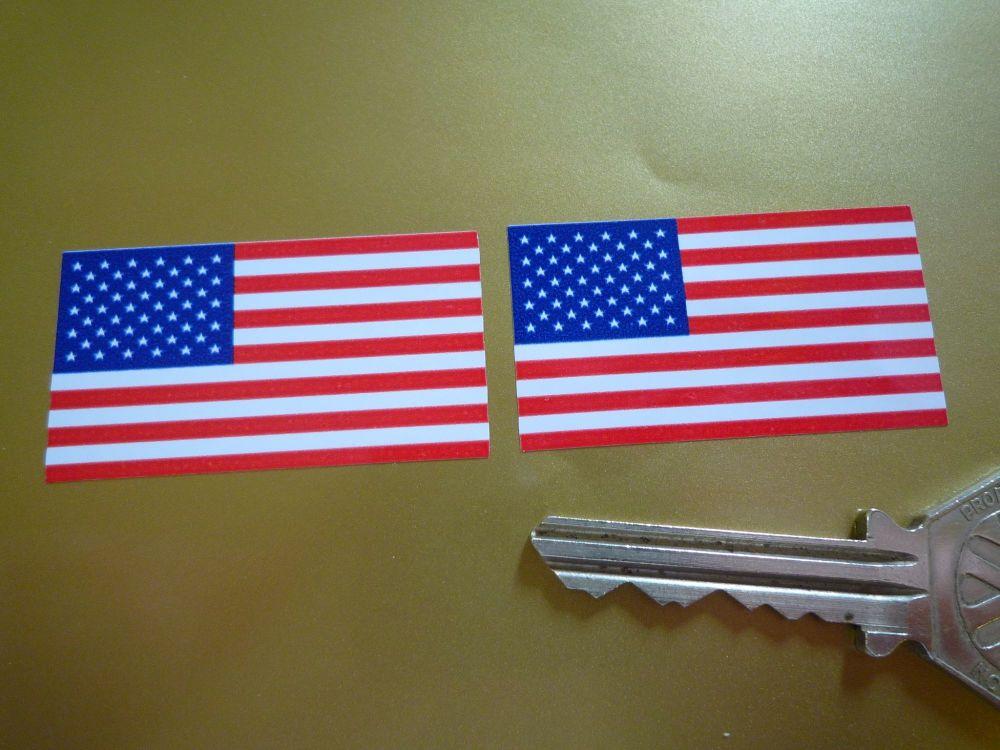 USA Stars & Stripes Oblong Flag Stickers. 45mm Pair.