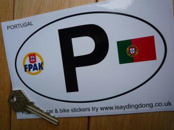 "P Portugal Portuguese Flag & FPAK ID Plate Sticker. 6""."