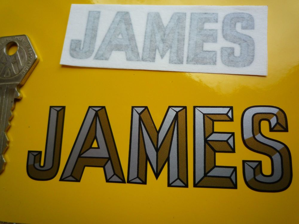 """James 3D Style Cut Text Sticker. 3"""" or 4""""."""
