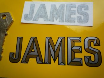 "James 3D Style Cut Text Sticker. 3"" or 4""."