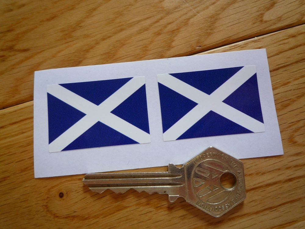 Scottish Saltire Oblong Flag Stickers. 33mm or 40mm Pair.