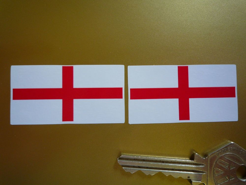 St George's Cross Oblong English England Flag Stickers. 50mm Pair.