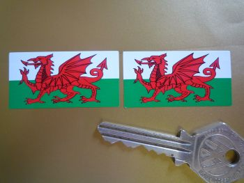 Welsh Dragon Flag Oblong Stickers. 45mm Pair.