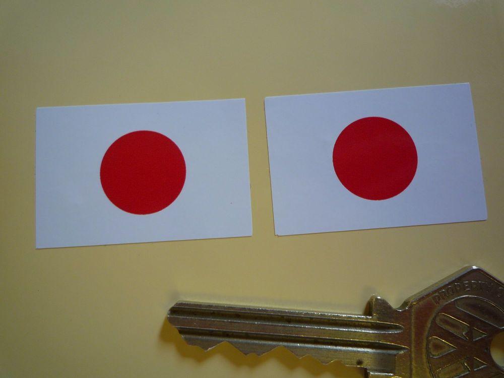 Japanese Hinomaru Flag Oblong Stickers. 37mm Pair.