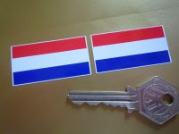 Netherlands Flag Oblong Stickers. 45mm Pair.