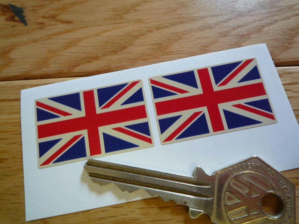 Union Jack Flag Beige Oblong Stickers. 38mm Pair.