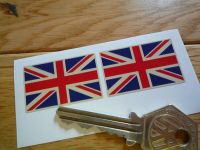 Union Jack Flag Beige Oblong Stickers. 33mm Pair.
