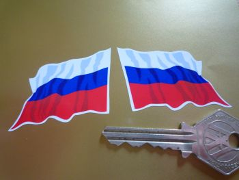 """Russia Wavy Flag Stickers. 2"""" Pair."""
