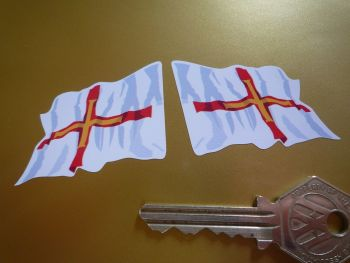 "Guernsey Wavy Flag Stickers. 2"" Pair."