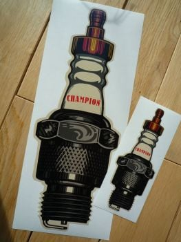 "Champion Beige Old Style Shaped Spark Plug Sticker. 6"" or 12""."