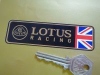 "Lotus Racing 1/2 Union Jack Style Oblong Sticker. 4""."