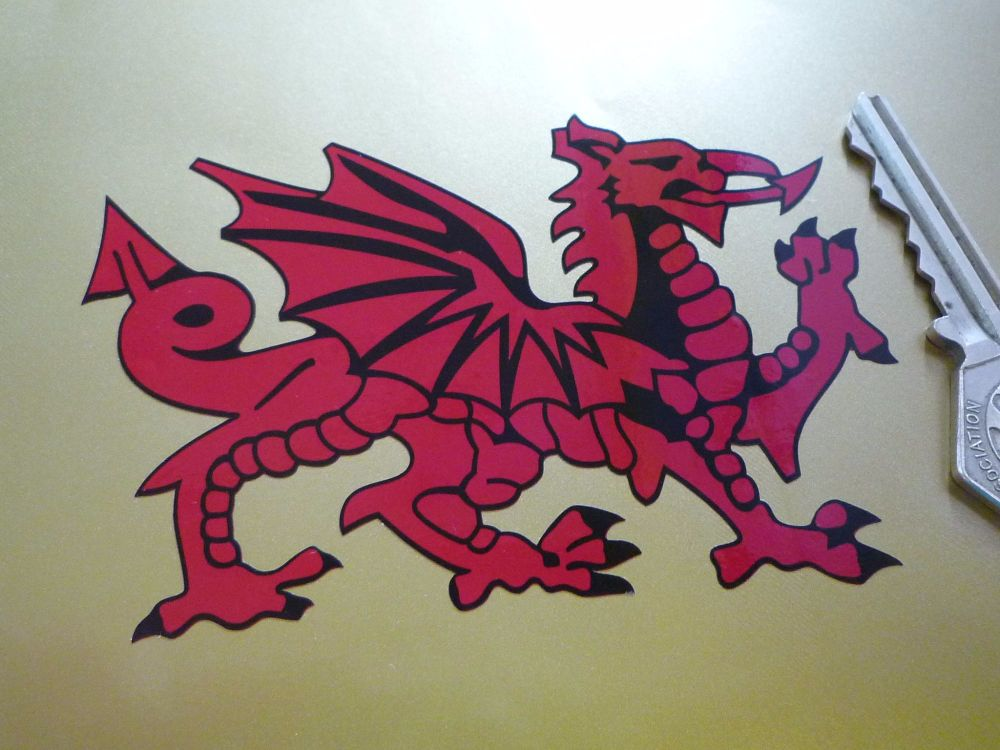 """Welsh Dragon Cut to Shape Stickers. Dark Red. 4"""" or 6"""" Pair."""