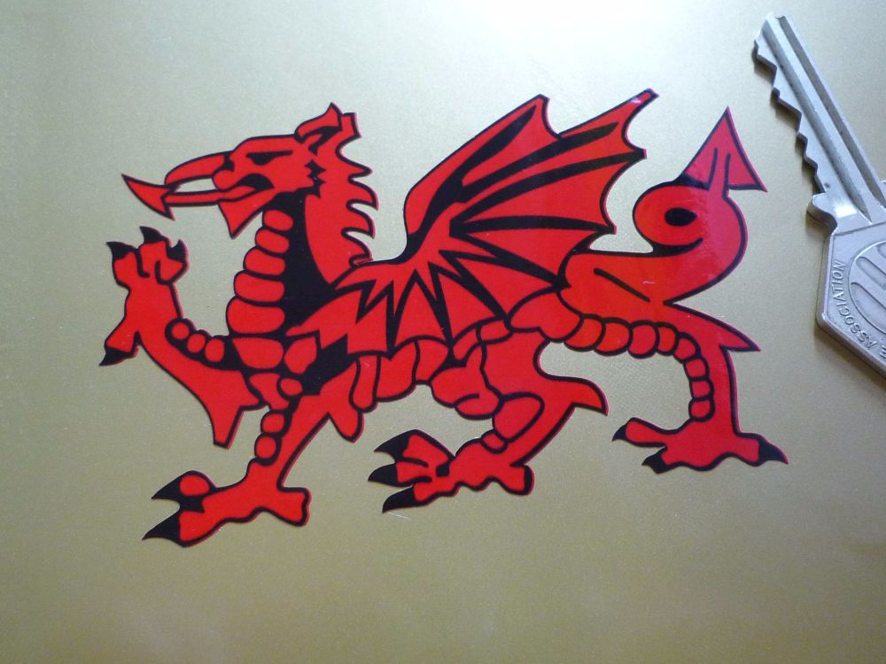 """Welsh Dragon Cut to Shape Stickers. Bright Red. 3"""", 4"""", 6"""" or 7.5"""" Pair."""