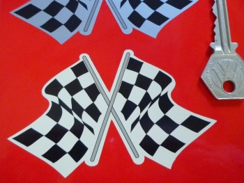 "Chequered Flag Crossed Daytona Style Sticker. Black & Silver or Black & Beige. 4""."