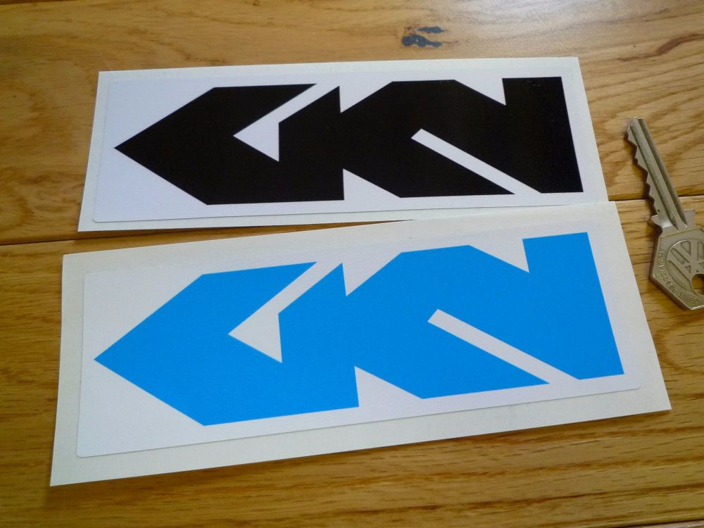 """GKN Oblong Stickers. Black & White or Blue & White. 6"""" Pair."""