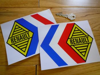 "Renault Alpine Gordini Tricola Yellow Middle Stickers. 6"" Pair."