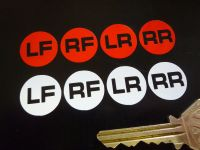 Wheel ID Stickers. Various Colours. 20mm. Set of 4.