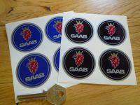 Saab Wheel Centre Style Colour Stickers. Set of 4. 50mm.