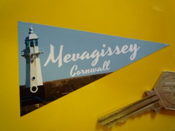 "Mevagissey Cornwall Travel Pennant Sticker. 4""."