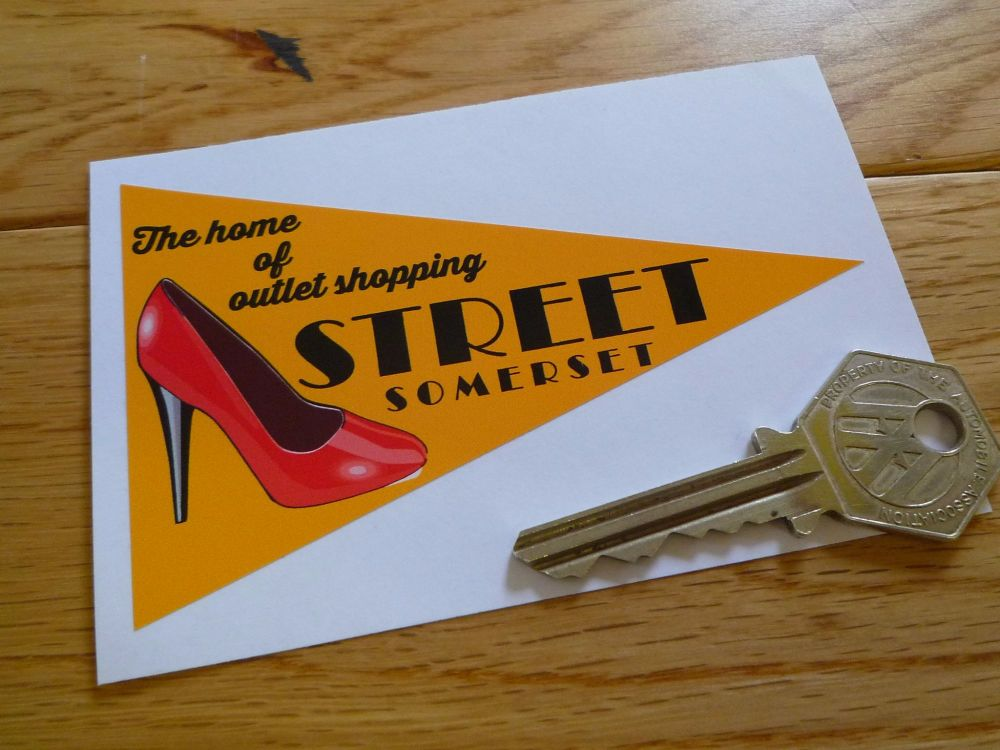 "Street Somerset Travel Pennant Sticker. 4""."