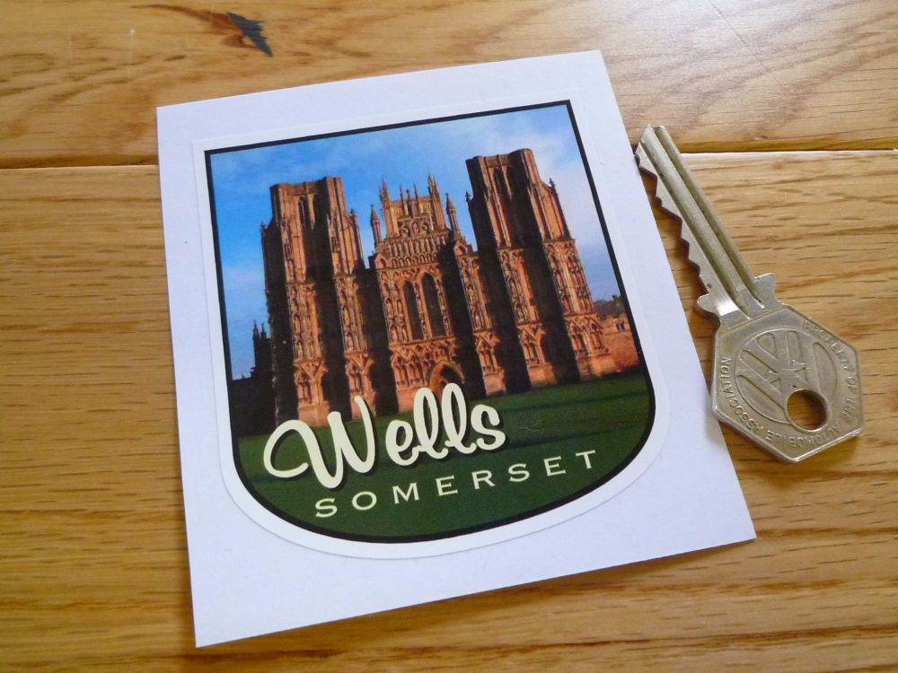 "Wells Cathedral Somerset Shield Style Travel Sticker. 3.5""."