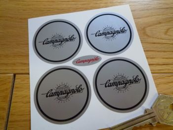 Campagnolo Silver & Black Globe Logo Wheel Centre Stickers. 50mm. Set of 4.
