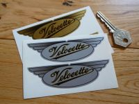 Velocette Winged Oval Stickers Silver or Gold. 4