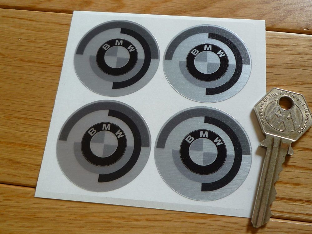 BMW CSL Style Gunsight Roundel Black Grey Thick Foil Stickers. Set of 4. 42