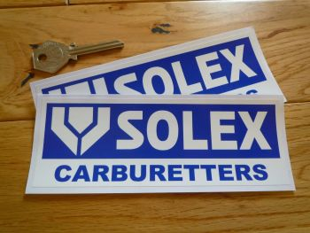 "Solex Carburetors White & Blue Oblong Stickers. 6"" Pair."