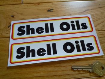 """Shell Oils Type A Narrow Oblong Stickers. 7"""" Pair."""