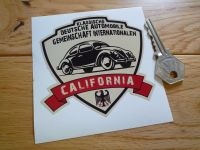 "German Classic Automobile Association International California Sticker. 3.5""."