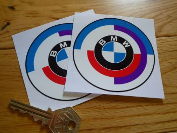 BMW Gunsight Style Roundel with Black Coachline Stickers. 45mm, 50mm, 60mm, 70mm or 80mm Pair.