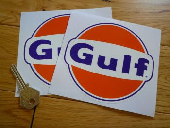 Gulf Logo Stickers Pair. Various Sizes. 125mm - 200mm.