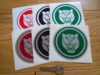 "Jaguar 'Growler' Circular Stickers. 4"" Pair. Various Colours."