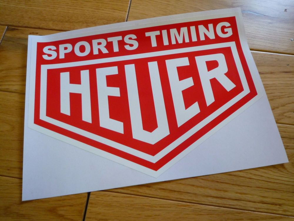 """Sports Timing Heuer. Red & White Sticker. 14""""."""