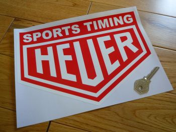 "Sports Timing Heuer. Red & White Sticker. 8"" or 10""."
