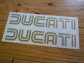 "Ducati 70's Style Cut Text Stickers. 14"" Pair."