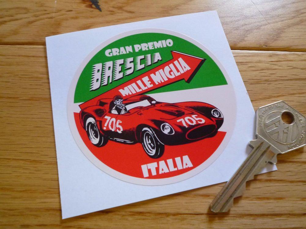 """Mille Miglia Gran Premio Brescia Circular Sticker. 3.25""""."""