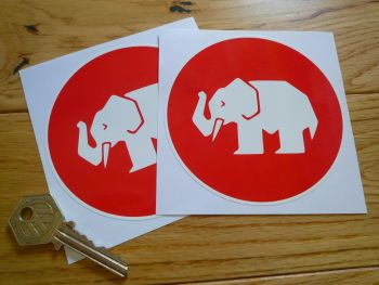 "Mampe Red & White Circular Sponsors Stickers. 4"" Pair."