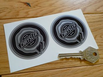 Chrysler Black & Silver Circular Rosette Logo Stickers. 63mm Pair.
