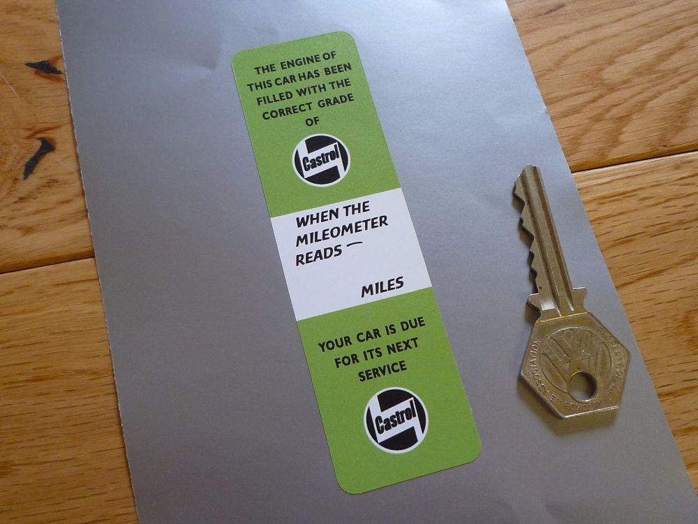 "Castrol Castrolite Light Green Vertical Service Sticker. 4.5""."