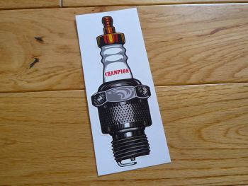 "Champion Shaped Spark Plug Old Style Sticker. 24""."