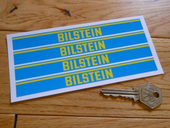 "Bilstein Shock Absorbers Blue & Yellow Oblong Stickers. Set of 4. 6""."