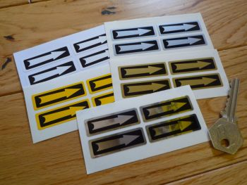 "Wheel Rotation Direction Arrows. Various colours. 1.5"". Set of 4."