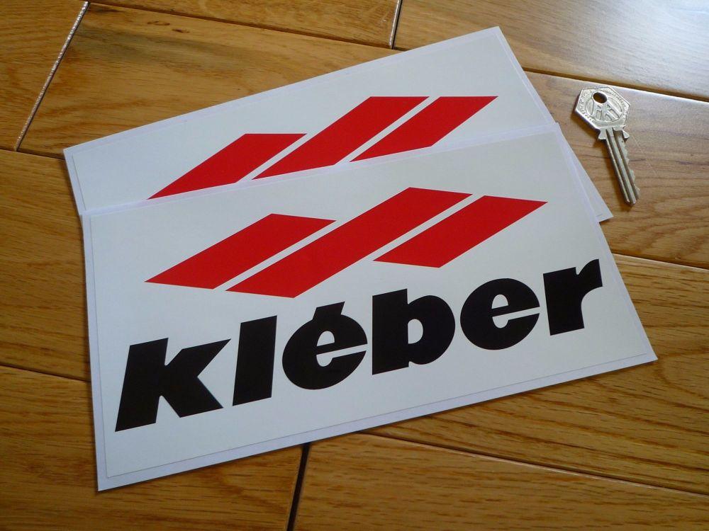 """Kleber, Red, Black & White Oblong Stickers. 8"""" Pair."""