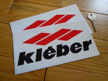 "Kleber, Red, Black & White Oblong Stickers. 8"" Pair."