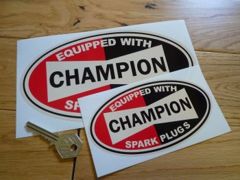 "Champion Spark Plugs 'Equipped With' Beige Oval Stickers. 5.5"" or 8"" Pair."