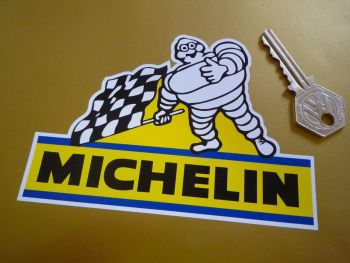 "Michelin Bibendum with Chequered Flag Stickers. 5"" Pair."