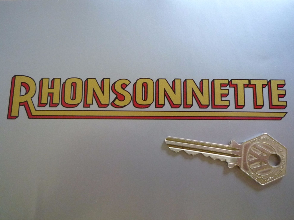 Rhonsonnette Cut Text Gold, Black and Red Shaped Stickers. 6