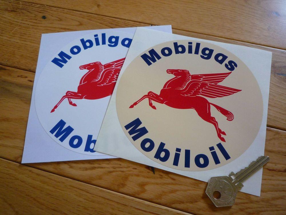 """Mobil Mobilgas Mobiloil Pegasus Circular Shaped Stickers. 3.5"""" or 5.5"""" Pair."""